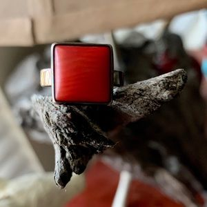 Natural Coral Sterling 925 Ring